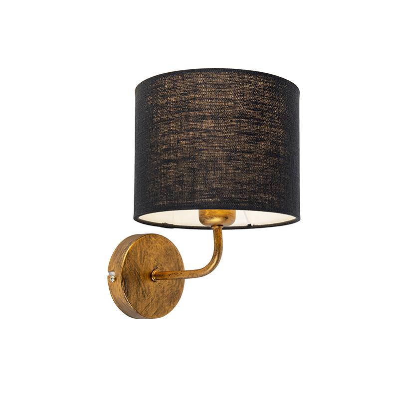 Vintage wandlamp goud met kap 18/18/14 zwart | QAZQA | 8718881094071