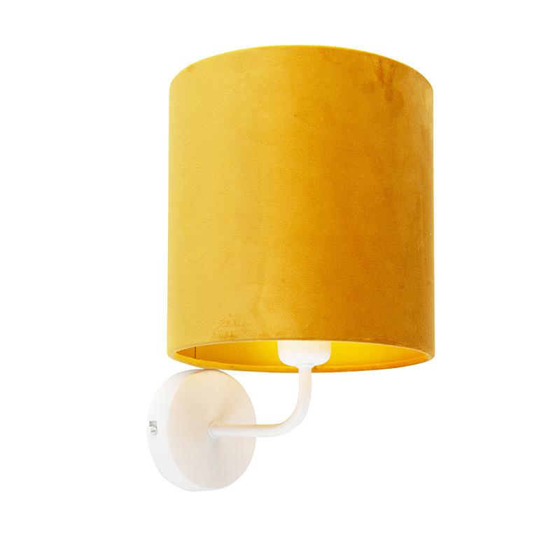 Vintage wandlamp wit met kap velours 20/20/20 oker – goud   QAZQA   8718881093982