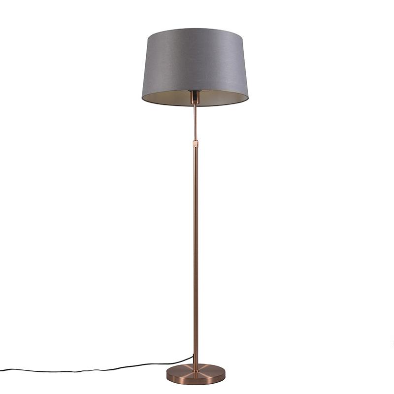 Vloerlamp Parte koper met grijze kap | QAZQA | 8718881050404