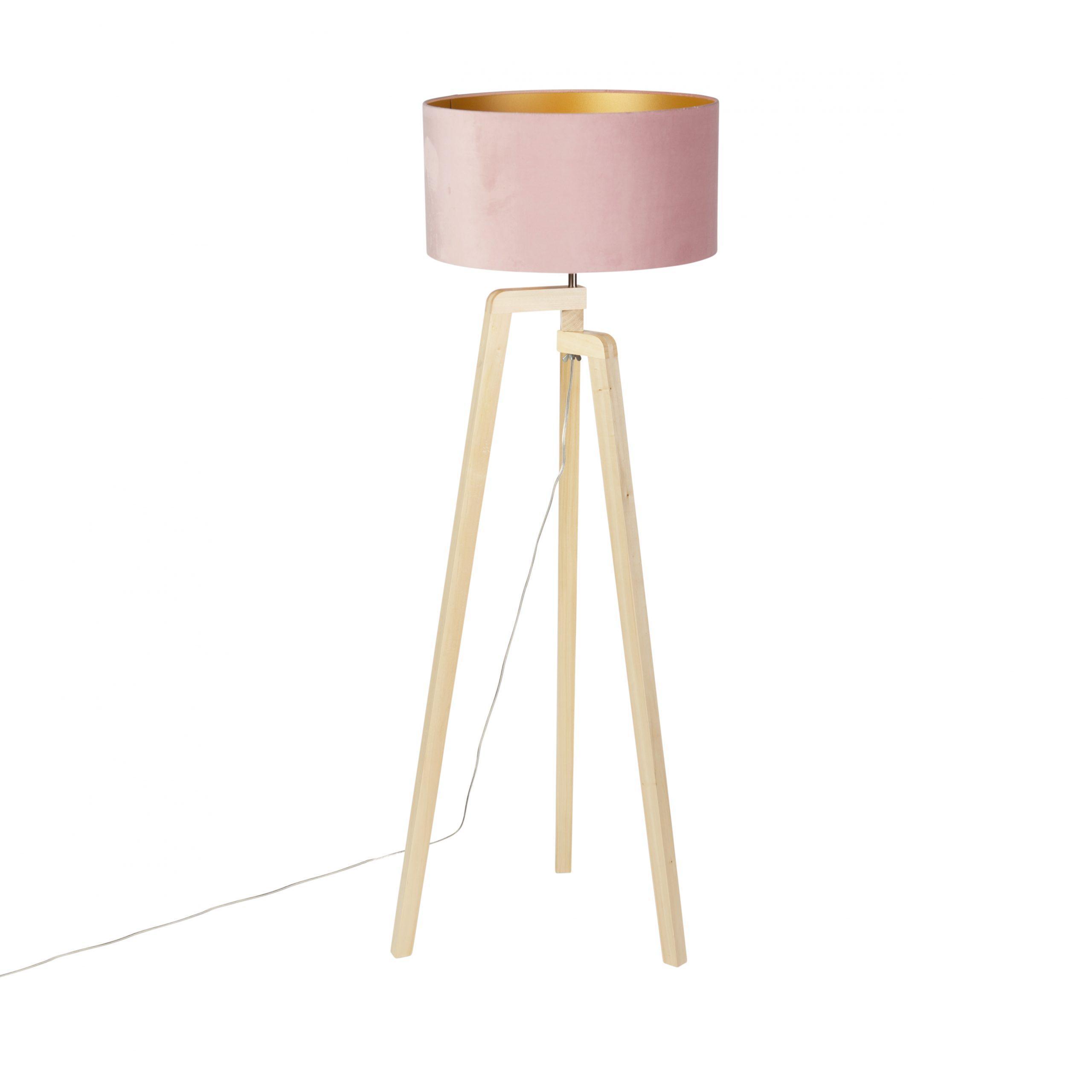 Vloerlamp Puros hout met kap 50cm velours oud roze – goud | QAZQA | 8718881093418