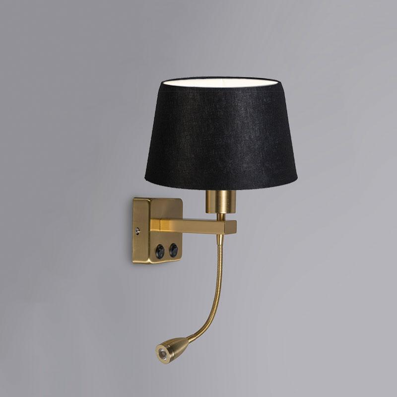 Wandlamp Brescia Combi goud met kap 20cm zwart | QAZQA | 8718881059315