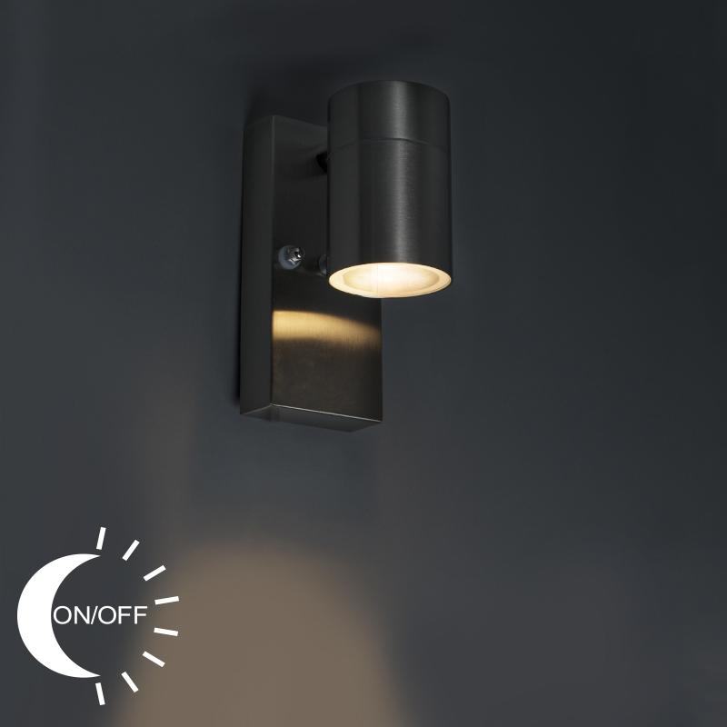 Wandlamp Solo staal licht-donker sensor | QAZQA | 8718881057632