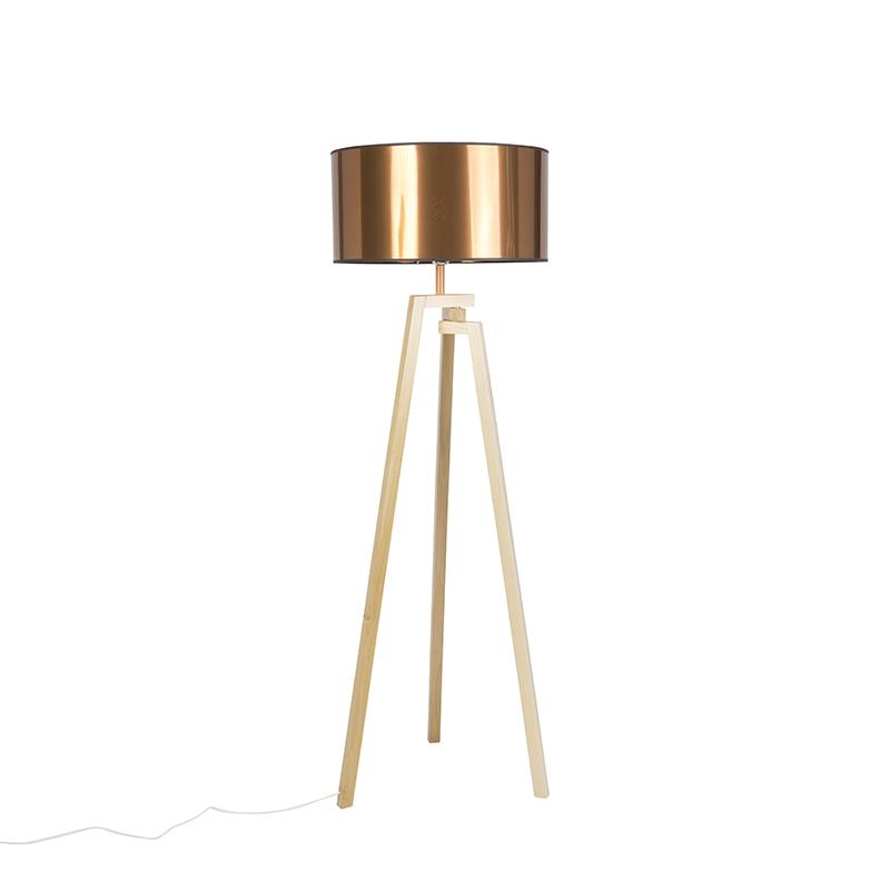 Design vloerlamp driepoot naturel hout met koperkleurige kap – Cortina | QAZQA | 8718881088148