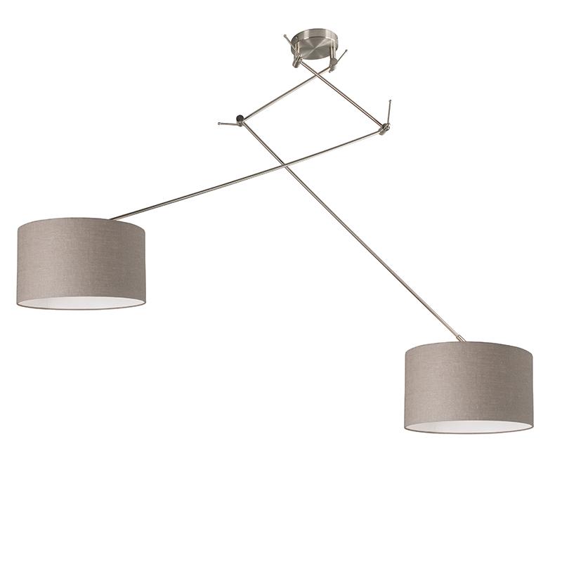 Hanglamp Blitz II staal met kap 35cm taupe   QAZQA   8718881070150