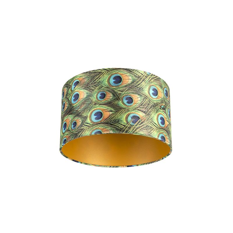 Lampenkap velours 35/35/20 pauw – goud   QAZQA   8718881089015
