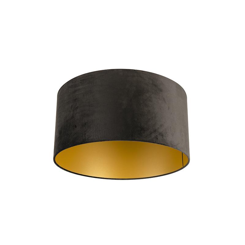 Lampenkap velours 50/50/25 zwart – goud | QAZQA | 8718881089176