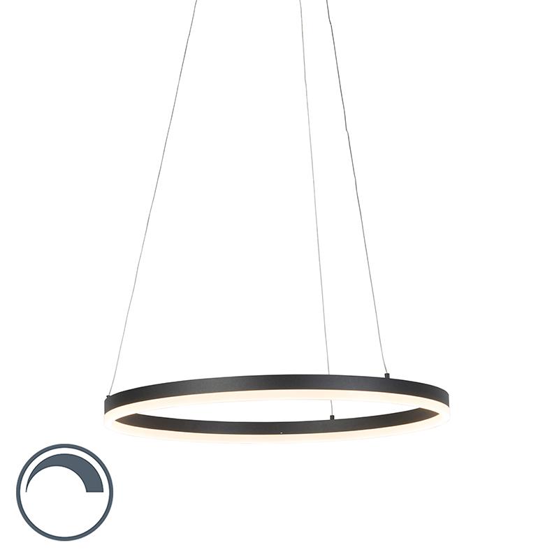 Moderne ring hanglamp zwart 60cm incl. LED en dimmer – Anello | Paul Neuhaus | 4012248305157