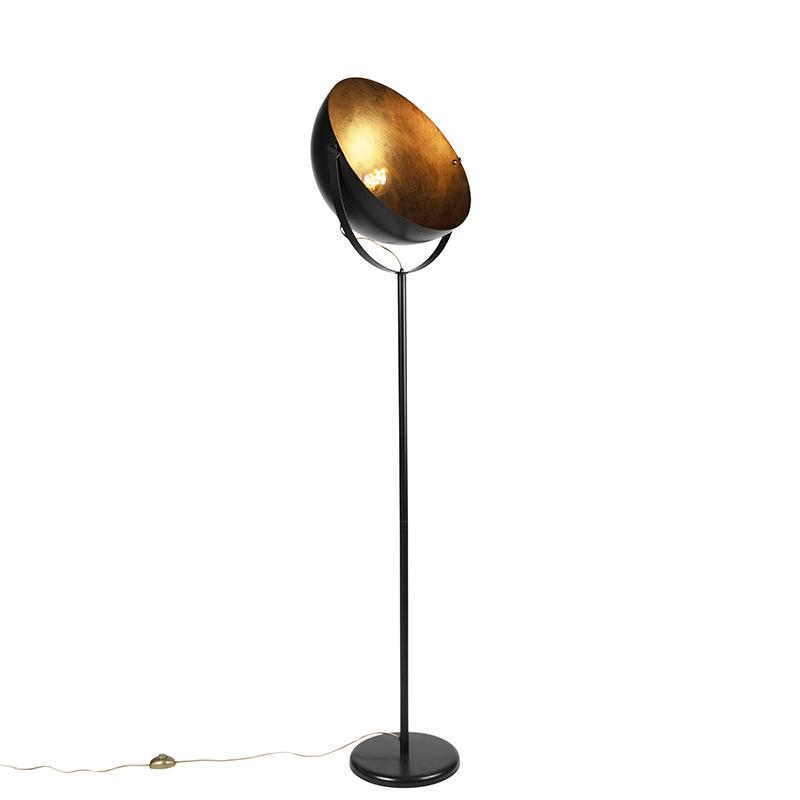 Moderne ronde vloerlamp zwart met goud 50cm – Magna | QAZQA | 8718881090134