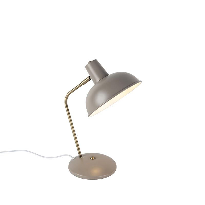 Moderne tafellamp grijs met brons – Milou | QAZQA | 8718881087554