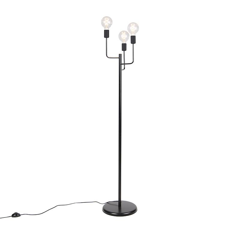 Moderne vloerlamp zwart 3-lichts – Facile | QAZQA | 8718881085406