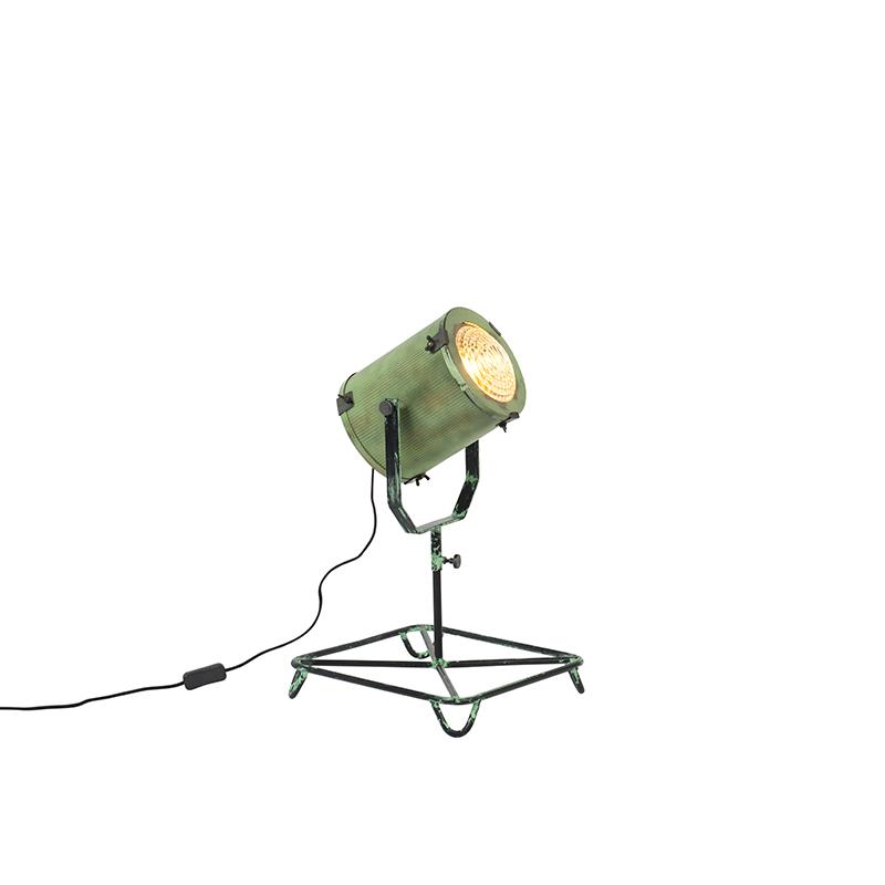 Vintage filmspot vloerlamp antiek groen 60 cm – Brooke   QAZQA   8718881067259