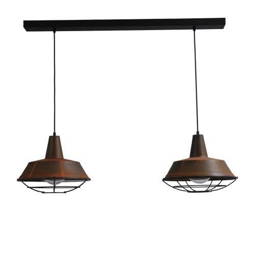 Masterlight Stoere roest hanglamp Industria 2×35 2546-25-25-S-C-100-2 | 8718121159997