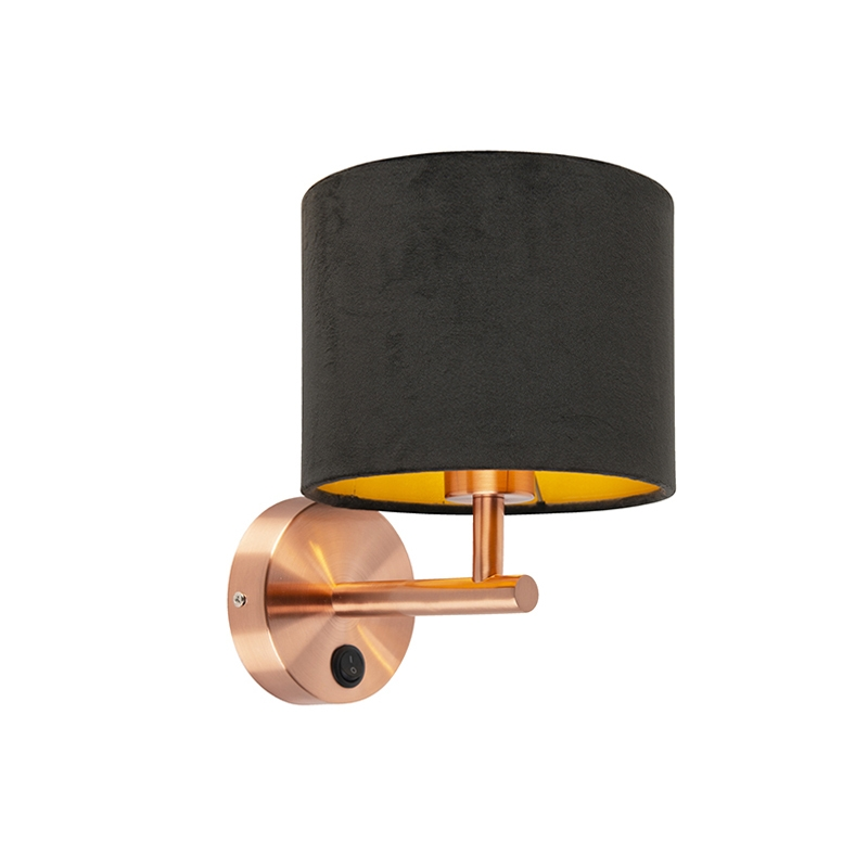 Strakke wandlamp koper met kap velours 18/18/14 zwart – goud | QAZQA | 8718881094286