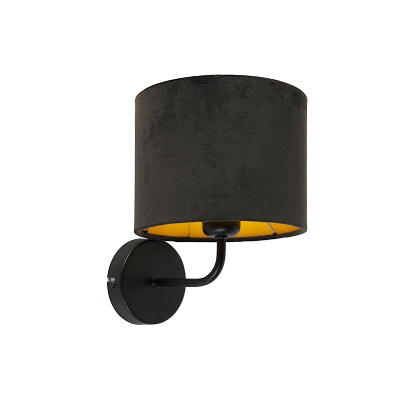 Vintage wandlamp zwart met kap velours 18/18/14 zwart – goud | QAZQA | 8718881093890