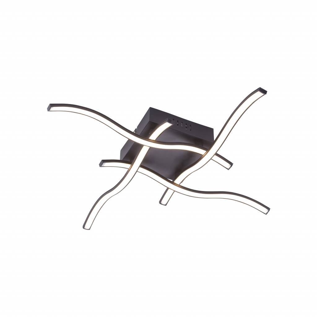 Plafondlamp WAVE Mat Zwart Led 55cm |  | 4043689948726