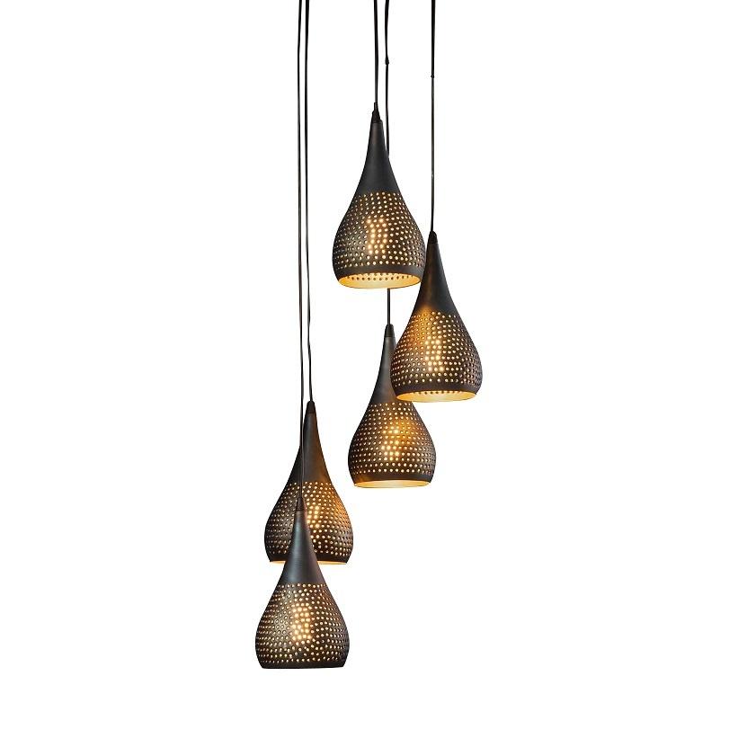 Hanglamp Kegel Vintage Black Brown 5 Lichts |  | 7061281292891