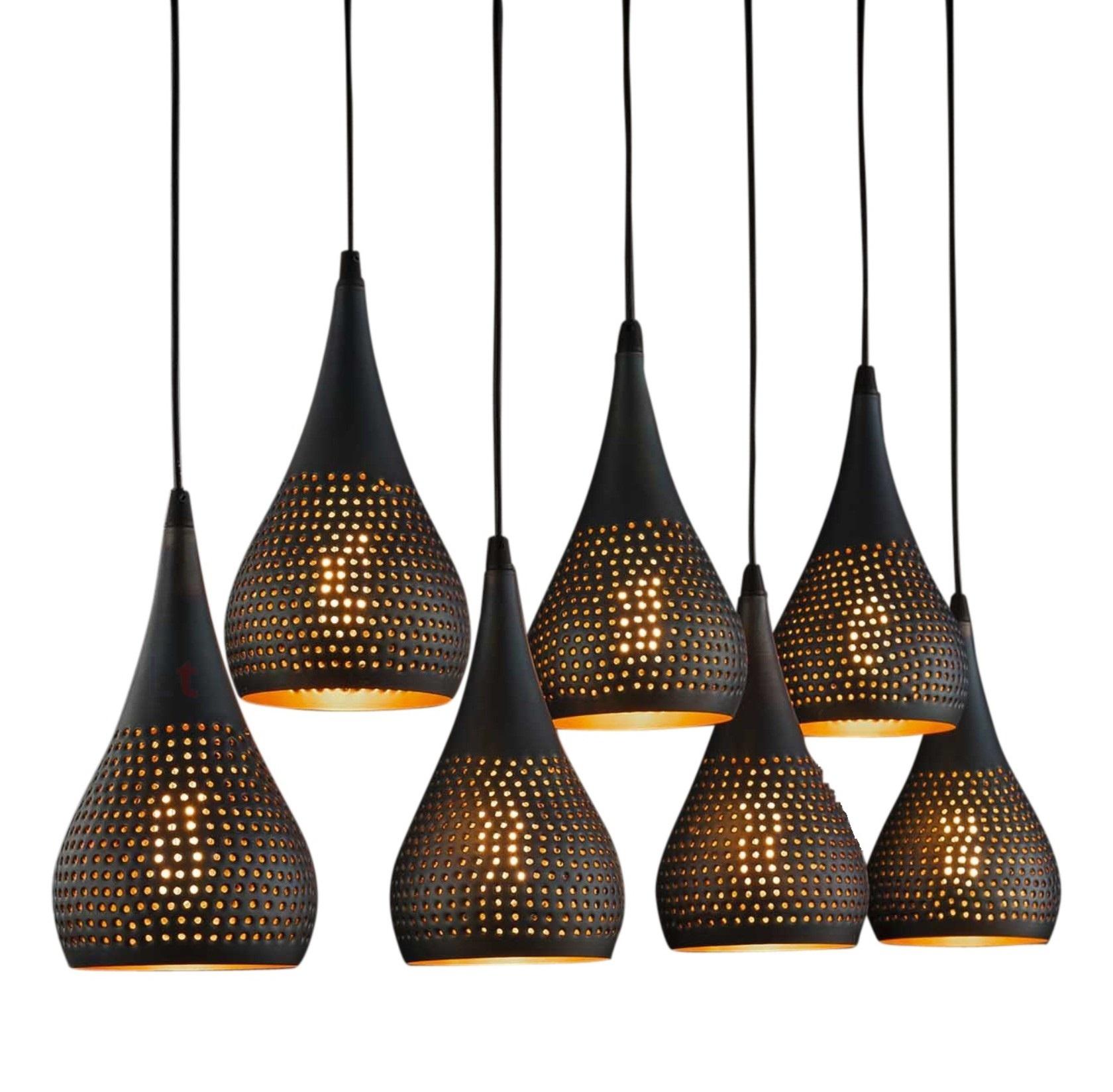 Hanglamp Kegel Vintage Black Brown 7 Lichts |  | 7061284277444