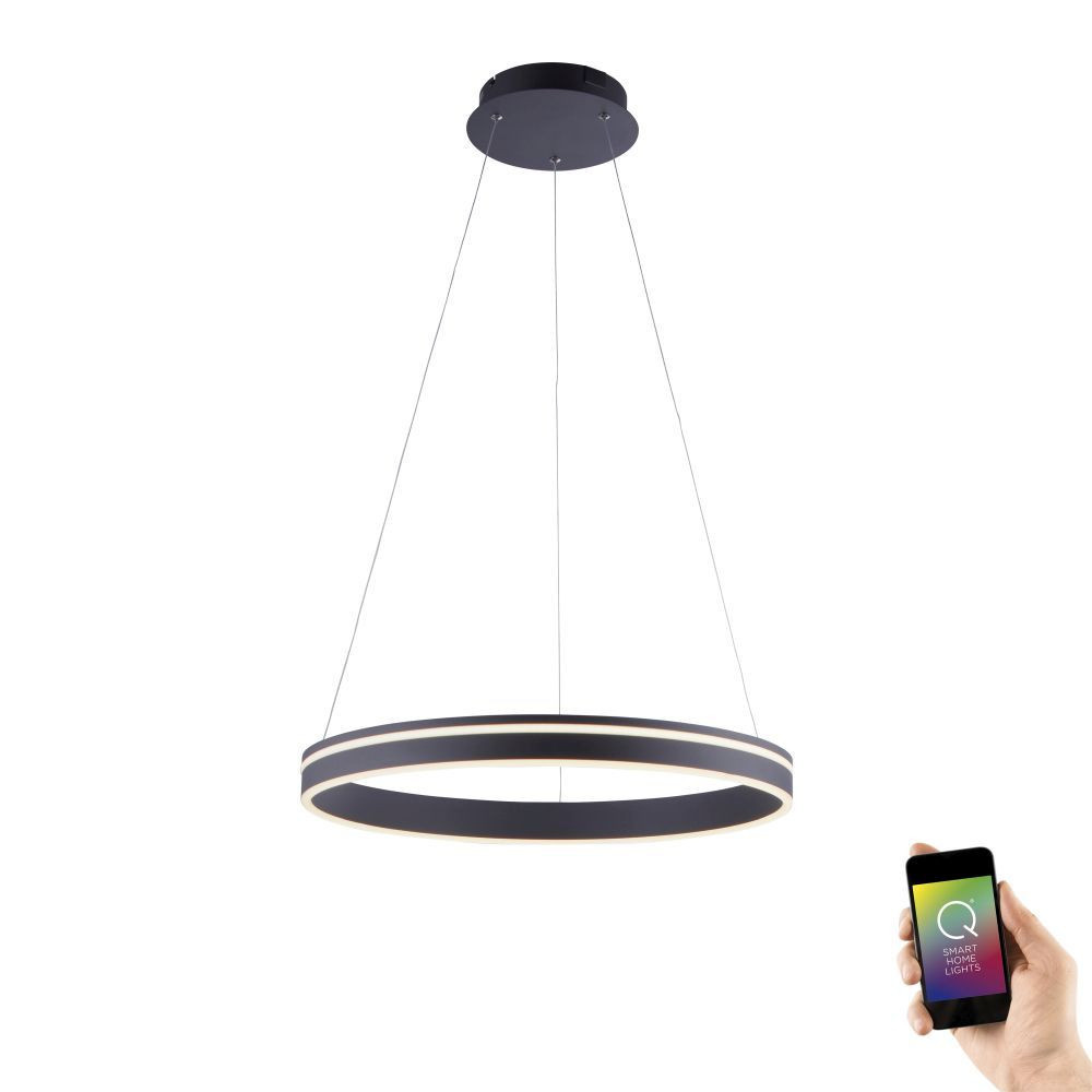 Hanglamp Q-Vito 59cm Antraciet Smart Home |  | 4012248336038