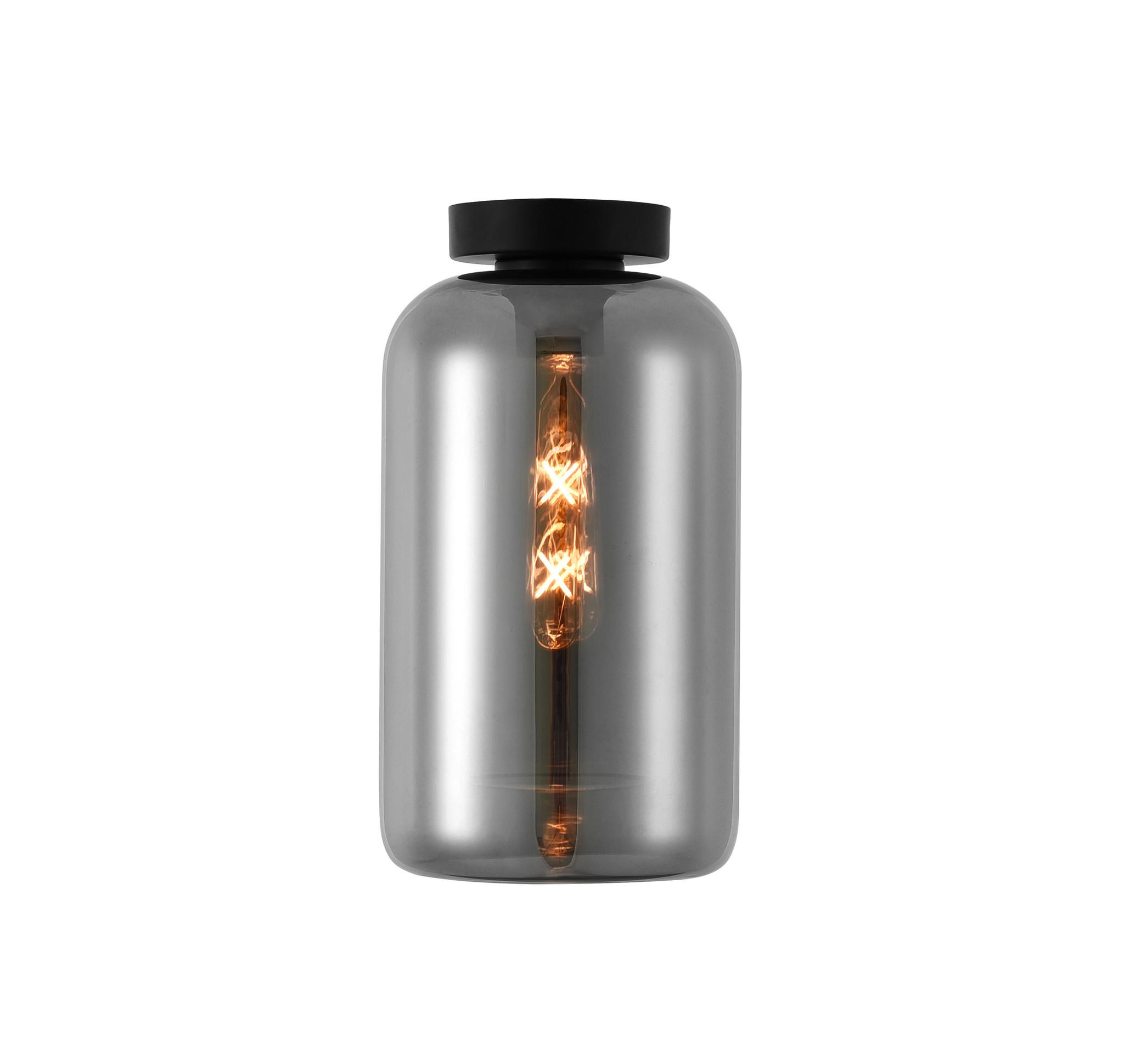 Artdelight Plafondlamp Botany Zwart & Smoke Glas 18cm   Artdelight   8719831735747
