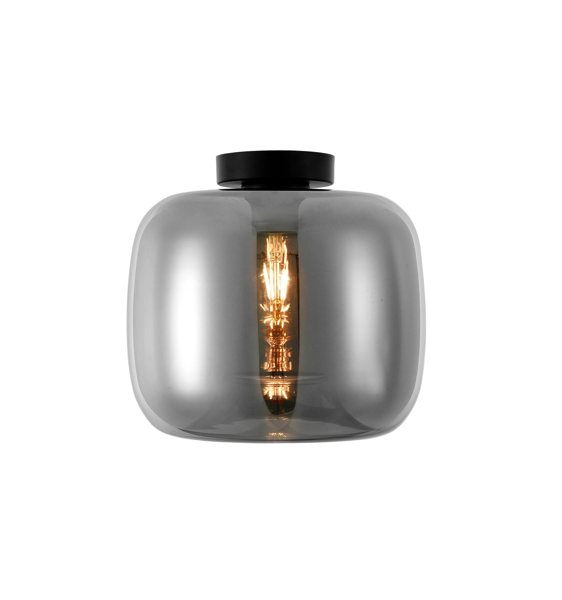 Artdelight Plafondlamp Preston Zwart & Smoke Glas 28cm   Artdelight   8719831735785