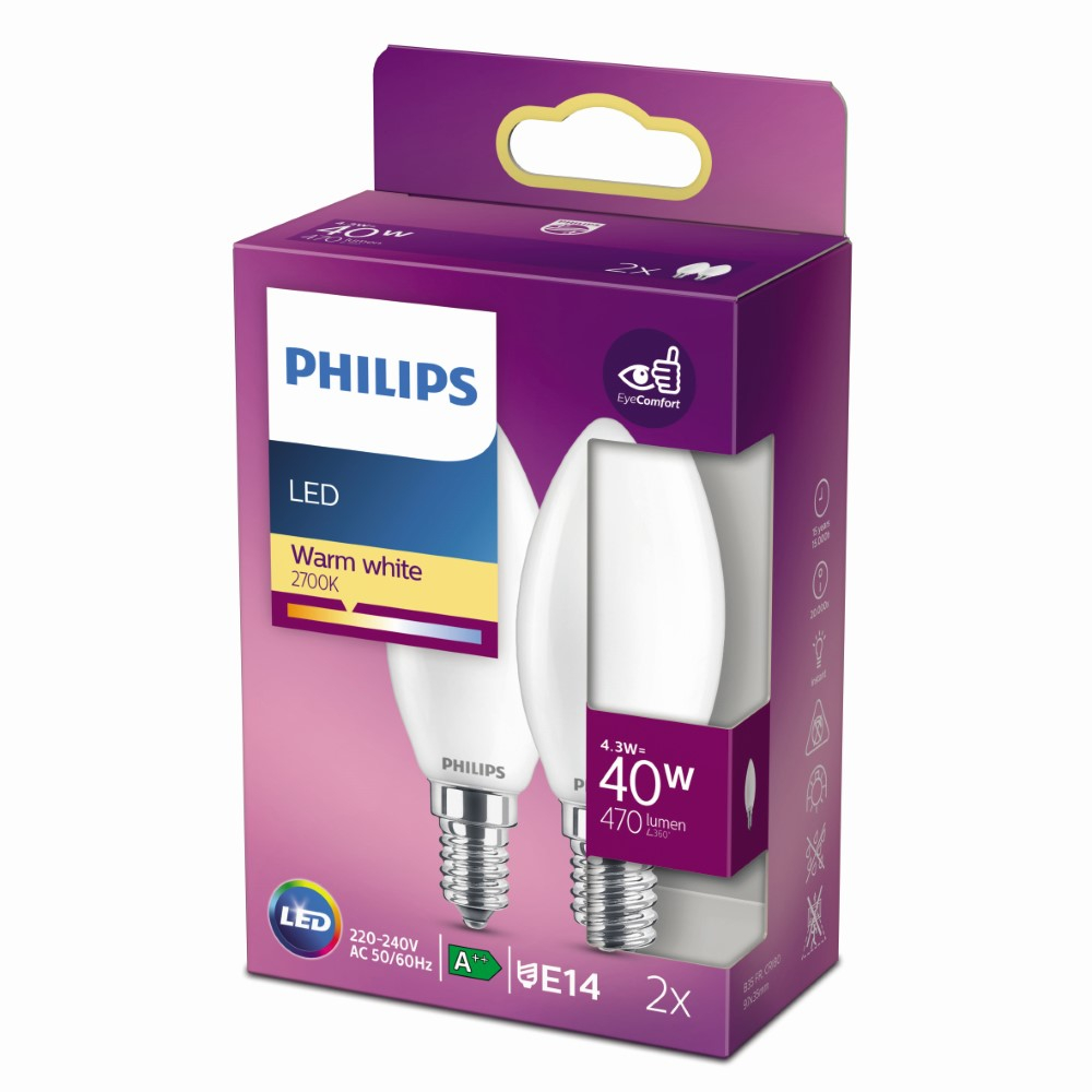 Philips 4,3W – E14 – 2700K – 470 lumen 929001345367 | 8718699777692
